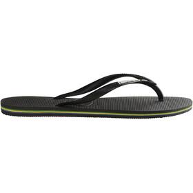 havaianas Slim Brasil Logo Flips Damen black